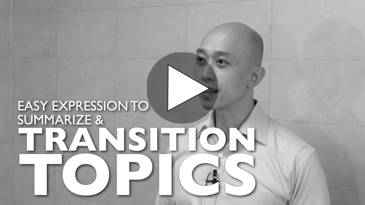 Presentation transition phrases